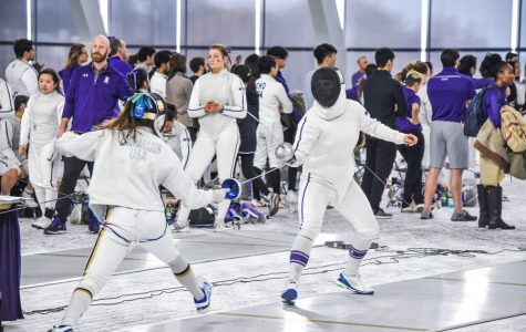 A Northwestern fencer faces off against an opponent. The Wildcats went 1-5 at this weekend's Elite Invitational.