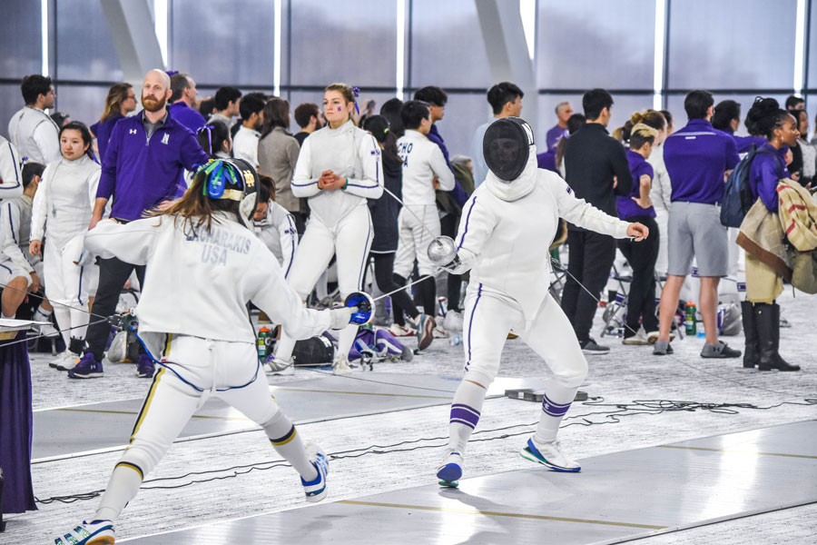 A+Northwestern+fencer+faces+off+against+an+opponent.+The+Wildcats+went+1-5+at+this+weekend%E2%80%99s+Elite+Invitational.+