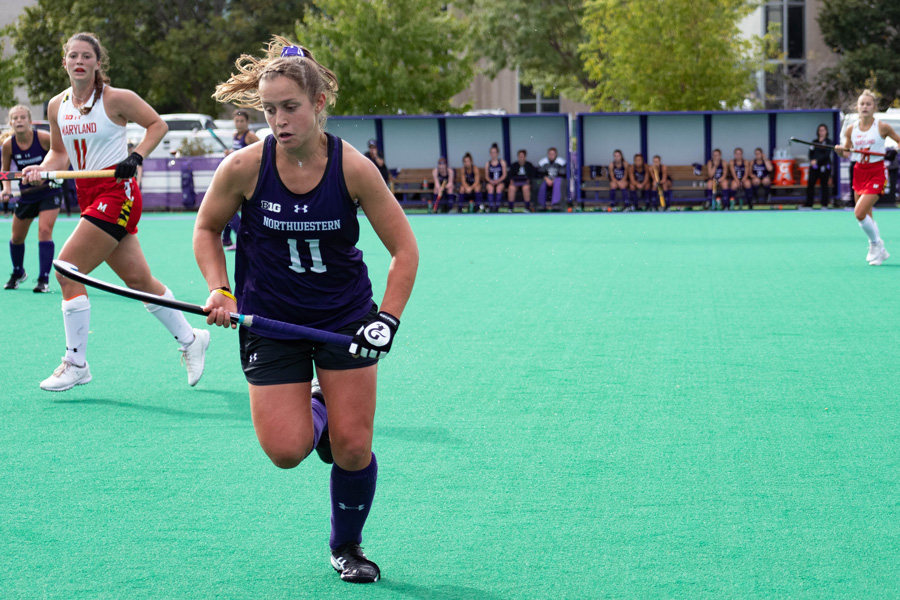 Kayla Blas runs for the ball. The sophomore defenseman recorded an assist against Indiana in the Cats' last game.