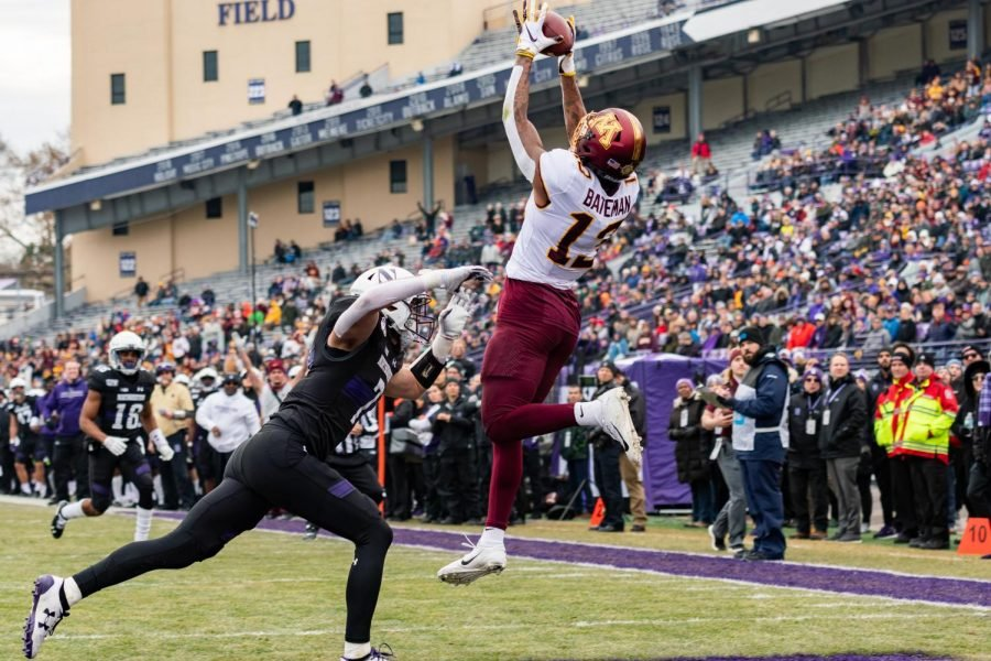 Rashod+Bateman+catches+a+ball+in+the+end+zone+for+a+touchdown.+The+receiver+had+three+touchdowns+against+Northwestern.