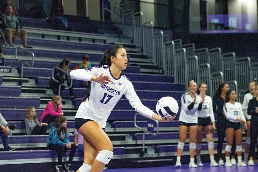 Peyton+Chang+prepares+to+serve+the+ball.+The+graduate+server+had+service+aces+against+Michigan+State.+