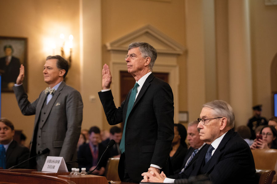 George Kent, deputy assistant secretary for European and Eurasian affairs, and William B. Taylor, acting ambassador to Ukraine, get sworn in to the House Intelligence Committee's first public inquiry into President Trump's interaction with the government of Ukraine.