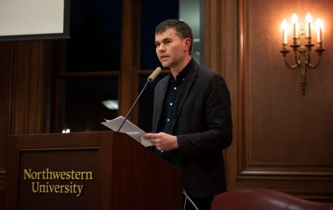 University of Massachusetts Prof. Thomas Stubblefield speaks during the Kaplan Institute's fall keynote event. Stubblefield and O'Brien discussed how erasure of works of art can alter perceptions of history.