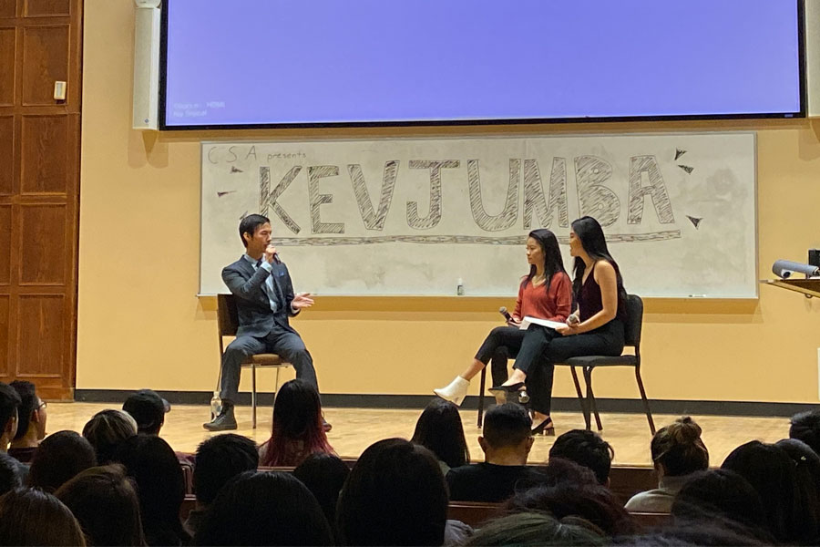 Asian American activist, blogger and humanitarian Kevin Wu answers questions from CSA executive board members during a moderated Q&A.