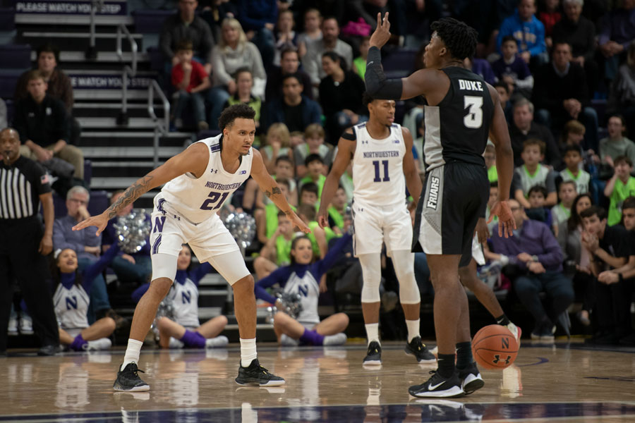 Senior+forward+A.J.+Turner+dribbles+the+ball.+Northwestern%E2%80%99s+defense+only+allowed+63+points+in+Wednesday%E2%80%99s+win+over+Providence.