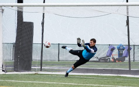 Miha Miskovic gives up a goal on a penalty kick. The Wildcats lost in the quarterfinal of the Big Ten Tournament.