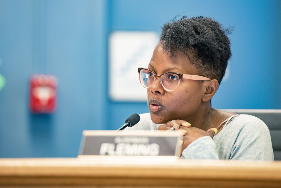 Ald. Cicely Fleming (9th) at a City Council meeting. Fleming amended the ordinance to remove the confidentiality and non-disclosure requirements.