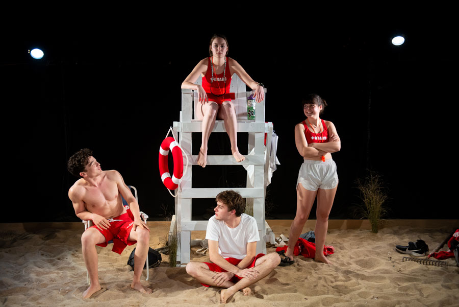 """Cast members of """"Rip Current Water Entry."""" The show opens at Shanley Pavilion on Thursday at 7:30 p.m. and runs through Nov. 9."""