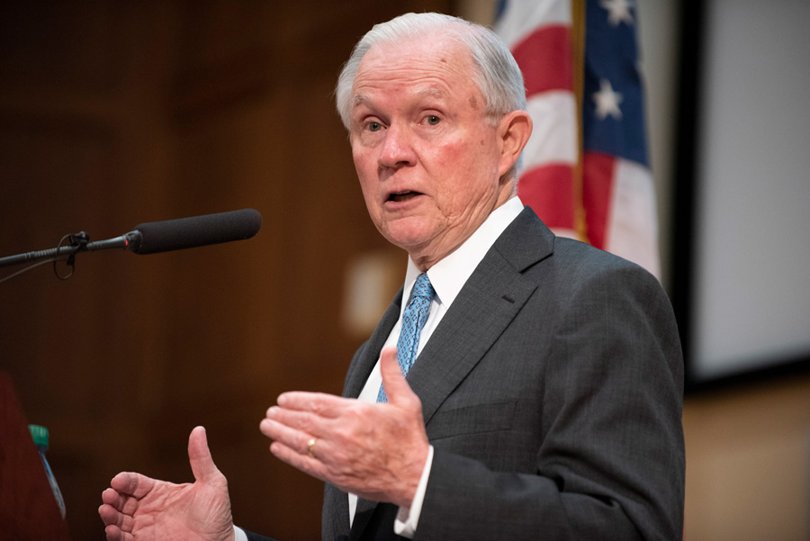 Former U.S. Attorney General Jeff Sessions. Sessions spoke at a Northwestern University College Republicans event Tuesday.