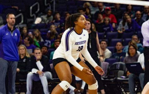 Nia Robinson watches the ball. The junior outside hitter was honored for recording her 1,000th kill against Michigan State.