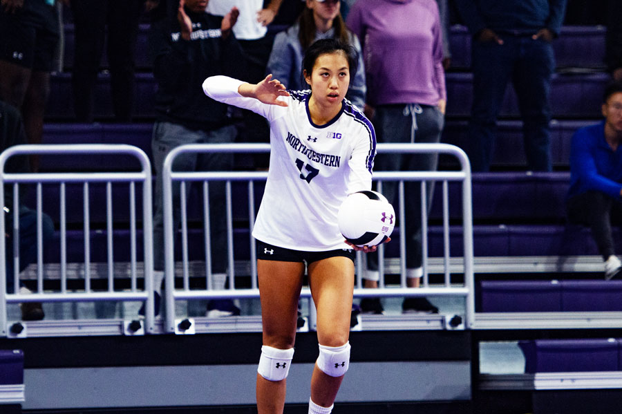 Peyton Chang prepares to hit the ball. The graduate server had 47 assists in the Cats last game against Michigan.