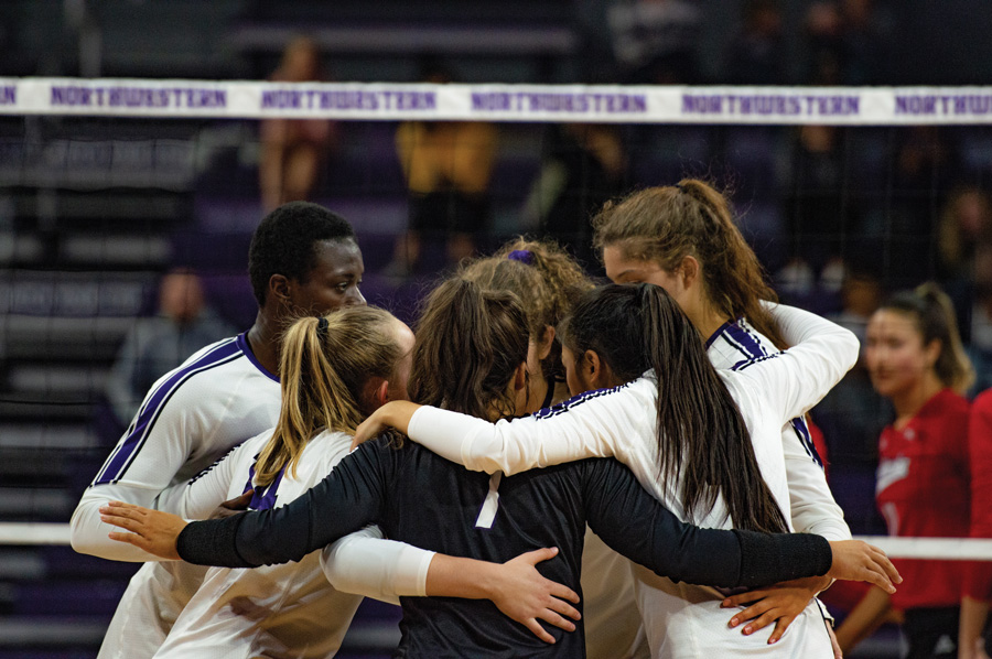 The Wildcats talk in between points. Northwestern has only won one conference game this season