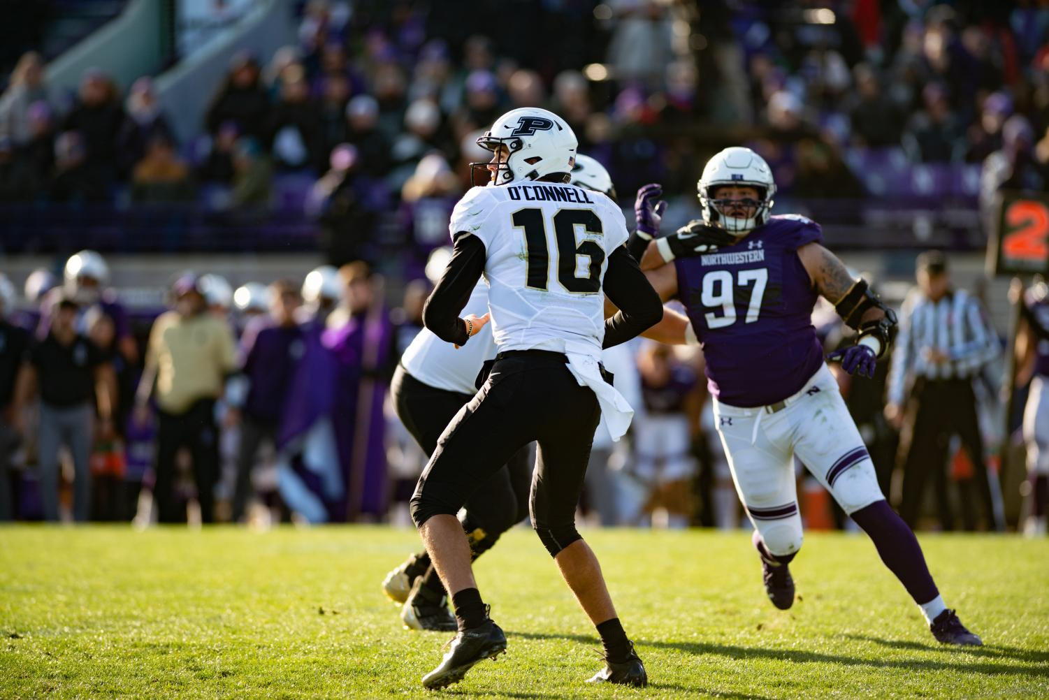 Aidan O'Connell drops back to pass. The sophomore led Purdue to a 24-22 win over Northwestern on Saturday at Ryan Field.