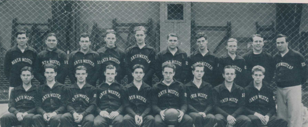 The 1935-36 Northwestern men's basketball team pose for a team photo. The team played Notre Dame on Dec. 31, 1935 and tied 20-20.