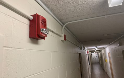 Fire alarm in Bobb-McCulloch Hall. Two false alarms were triggered in the span of three days, leaving 450 residents out in the cold.