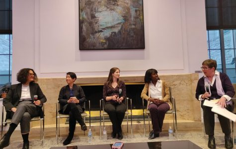 A panel comprising Monica Olvera de la Cruz, Teri Odom, Danielle Tullman-Ercek, Heather Pinkett, and Sheila Judge. They discuss women in STEM at an event sponsored by One Book.