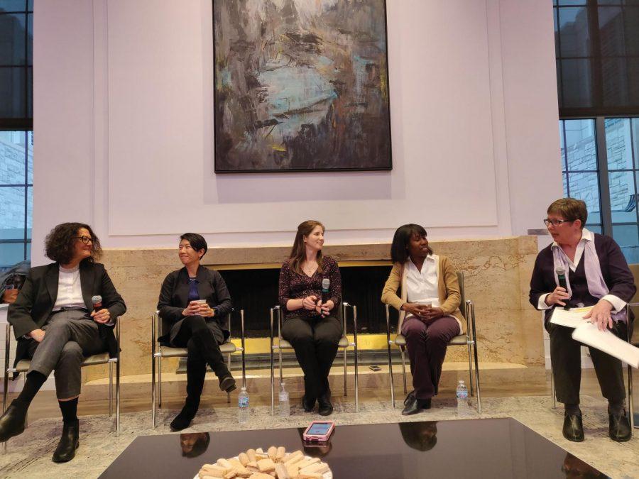 A panel comprising Monica Olvera de la Cruz, Teri Odom, Danielle Tullman-Ercek, Heather Pinkett, and Sheila Judge. They discuss women in STEM at an event sponsored by One Book.
