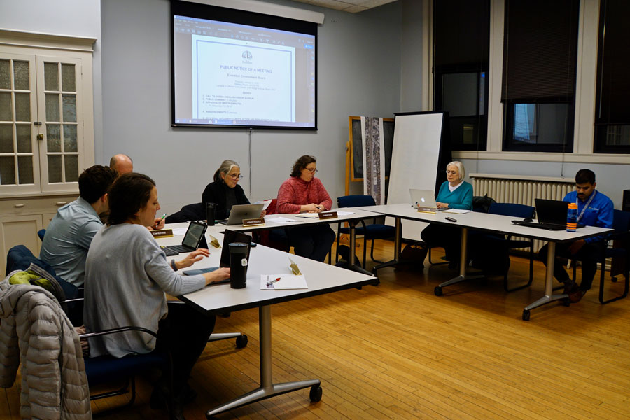 The+Evanston+Environmental+Board+meeting+at+the+Lorraine+H.+Morton+Civic+Center.+Board+members+outlined+strategies+to+implement+CARP+goals+in+2020.