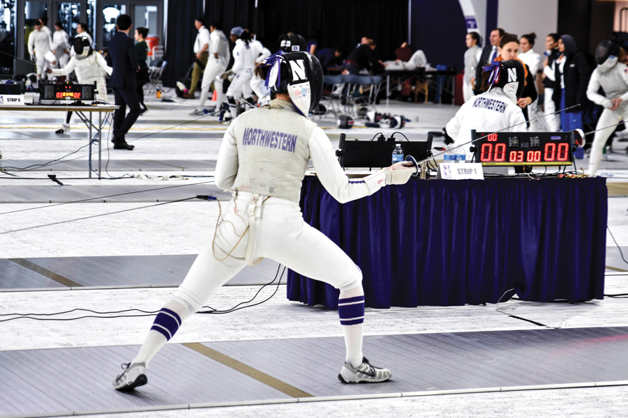 A Northwestern fencer prepares to duel. The Wildcats participated last weekend in the DeCicco Duals.
