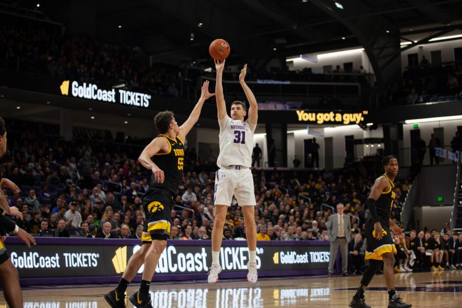 Robbie+Beran+goes+up+for+a+shot.+The+true+freshman+had+a+career-best+17+points+in+NU%27s+loss+to+Illinois+on+Saturday.