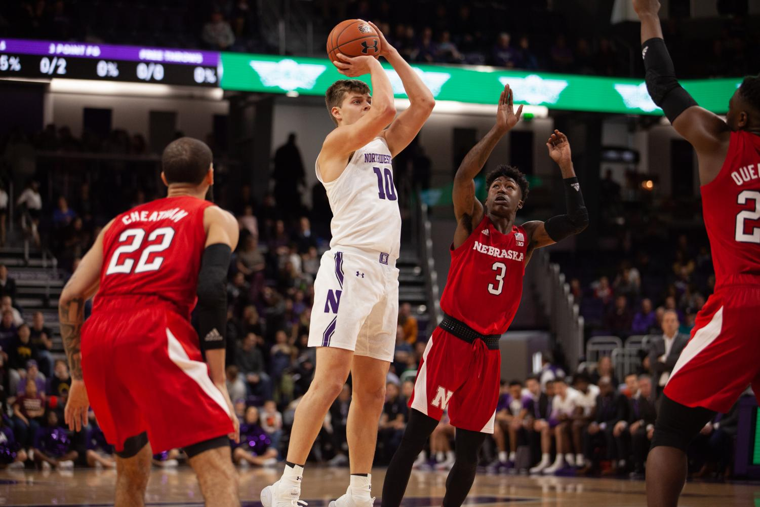 Miller Kopp shoots the ball. The sophomore finished the game with 15 points.