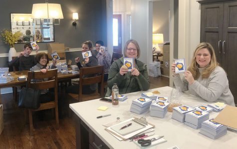 A Postcards to Wisconsin letter-writing event. Volunteers for the organization are working to hand-write 500,000 letters to voters in Wisconsin.