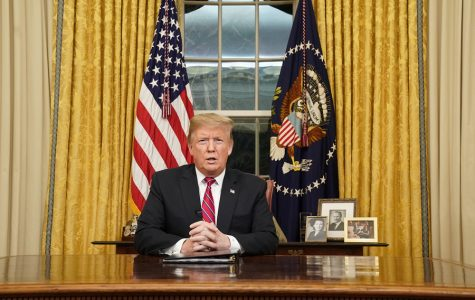 President Donald Trump speaks to the nation in January 2019 in a prime-time address from the Oval Office of the White House. Trump now faces impeachment charges, and awaits a Senate trial.