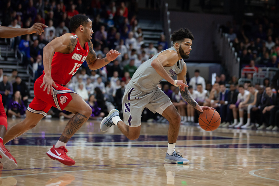 Boo+Buie+makes+a+move.+The+guard+finished+with+10+points+but+struggled+shooting+from+the+floor+in+NU%E2%80%99s+loss+to+Ohio+State.
