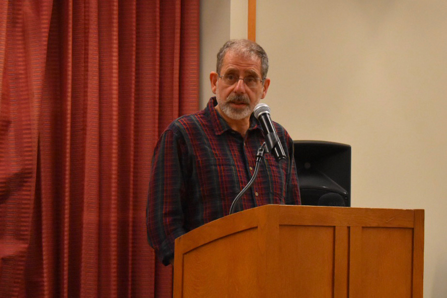 DePaul University professor Kaveh Ehsani. Ehsani spoke as part of a panel of five professors at Evanston Public Library Monday afternoon.