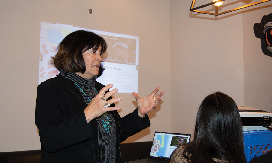 Medill Prof. Patty Loew gives a talk at Reprise Coffee Roasters. She emphasized Native American history and inclusion.