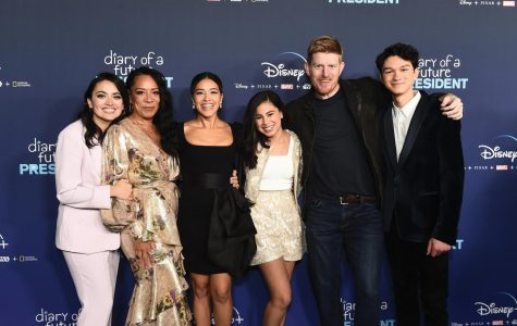 "Peña and the cast of ""Diary of a Future President"" at the show's premiere last week."