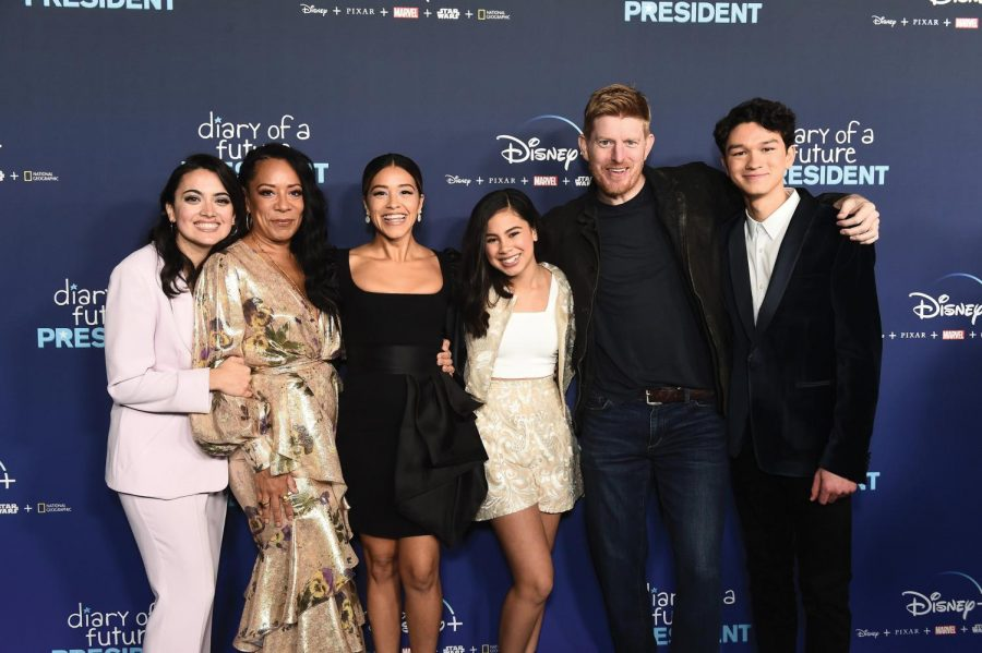 """Peña and the cast of """"Diary of a Future President"""" at the show's premiere last week."""