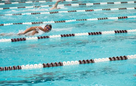 A Northwestern swimmer does the freestyle. The Wildcats had mixed results in two meets last weekend.