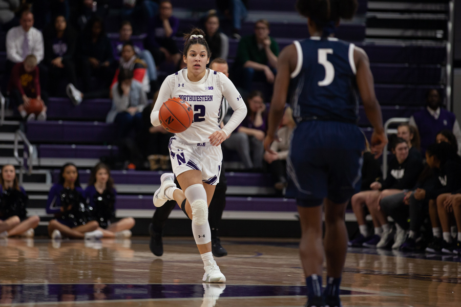 Veronica+Burton+drives+up+the+court.+The+sophomore+guard+scored+a+game-leading+22+points+and+also+had+six+steals+and+eight+rebounds+on+Thursday.