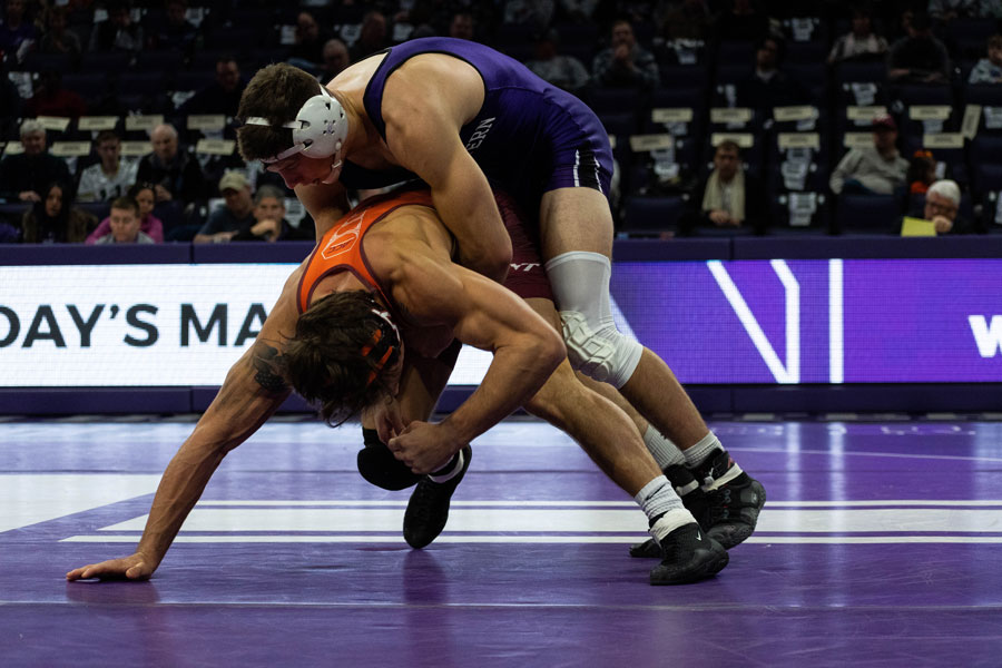 Ryan Deakin wrestles in a 2018 match. The redshirt junior took home the Midlands title at 157 pounds for the second consecutive year.