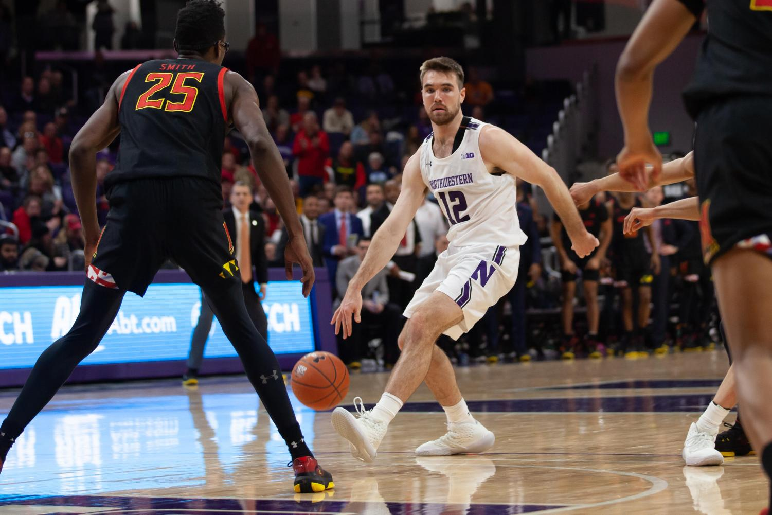 Pat Spencer looks to make a move. The Wildcats dropped their third conference game in a row to Maryland on Thursday.