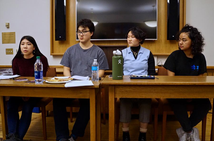Seniors Lillian Guo, William Paik, sophomore Hyohee Kim and freshman Toy Suliman speak on the Community Arts and Activism Student Panel.