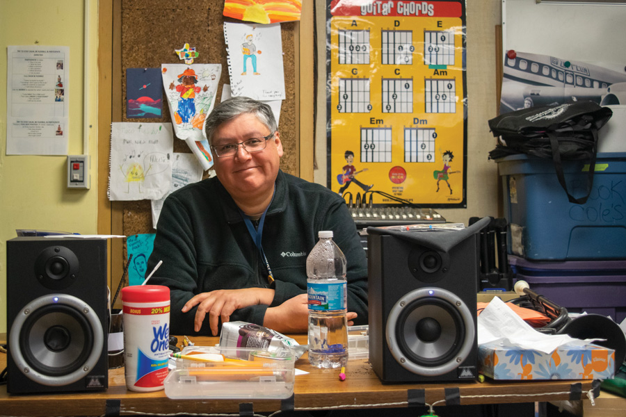 Arturo Fuerte, Willard Elementary School music teacher, is one of 30 finalists for the Golden Apple Award for Excellence in Teaching this year. He said he loves the mess in the music room because it shows how much he and the students work. In his free time, Fuerte coaches 23 student bands.
