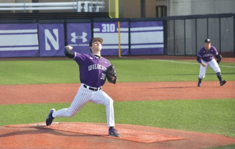 Anthony Alepra pitches the ball. Northwestern's pitching led the team to a series win this weekend.
