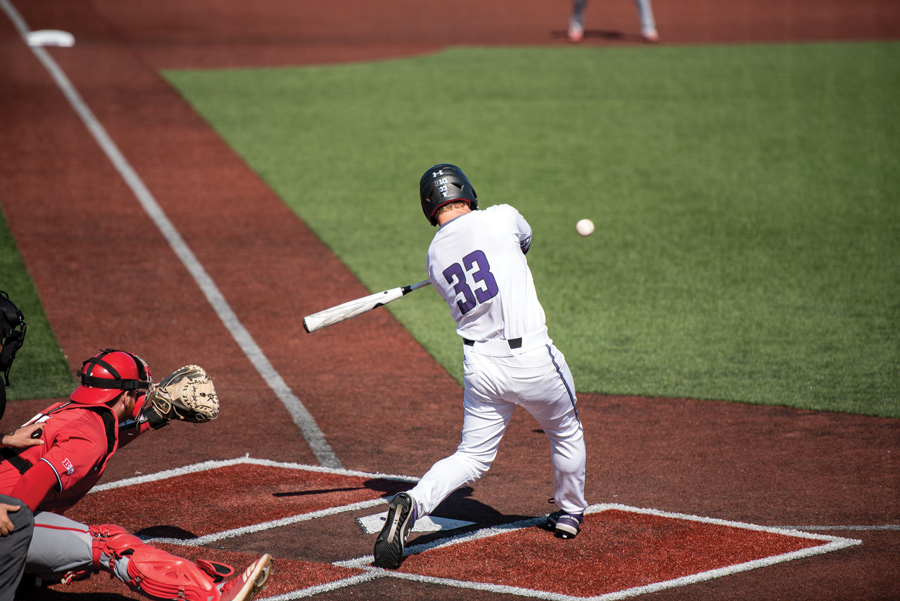 Casey O'Laughlin swings the bat. The junior outfielder hit a double this weekend.