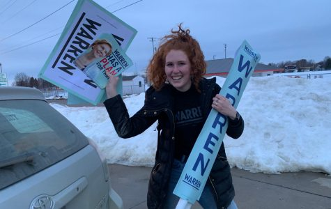 Communication junior Sophia Blake arrives at Pleasantville Middle School two hours before the caucus begins. She was assigned as a caucus night support team member for Elizabeth Warren, meant to persuade undecided voters during the realignments.