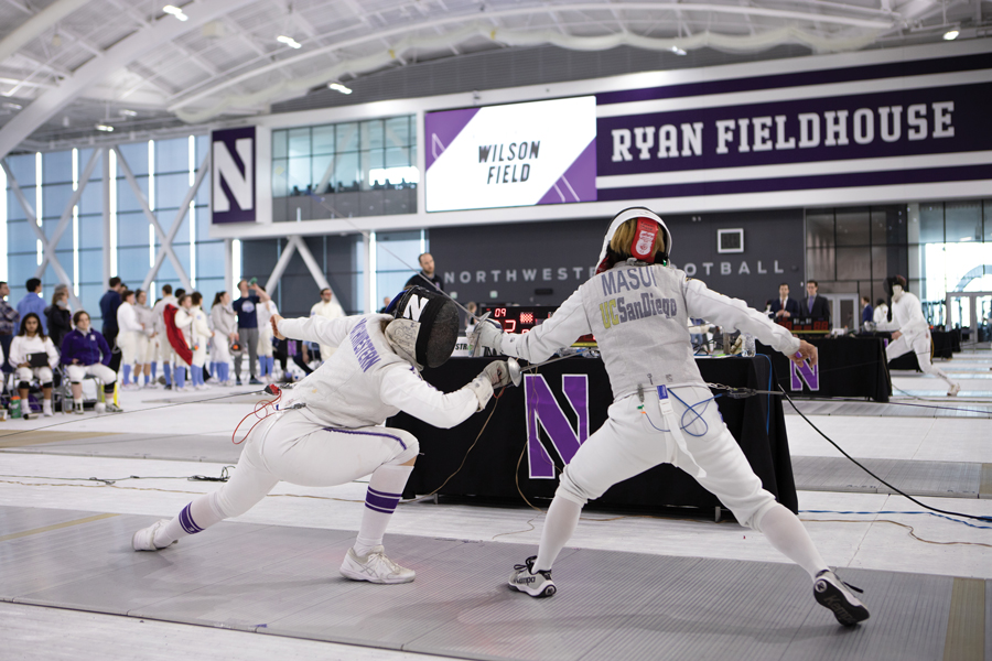 A+Northwestern+fencer+strikes+her+opponent.+The+Wildcats+went+10-2+in+the+NU+Duals+this+past+weekend.+