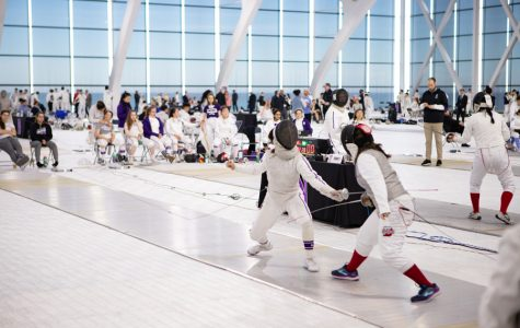 Northwestern fencers during a meet. The Wildcats sent two fencers to last weekend's Junior Olympics.