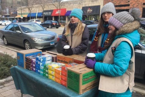 Girl Scouts brighten campus with smiles and cookies for students