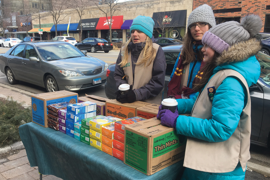 Girl Scouts and parents can be found selling cookies in front of the Technological Institute and the Weber Arch.