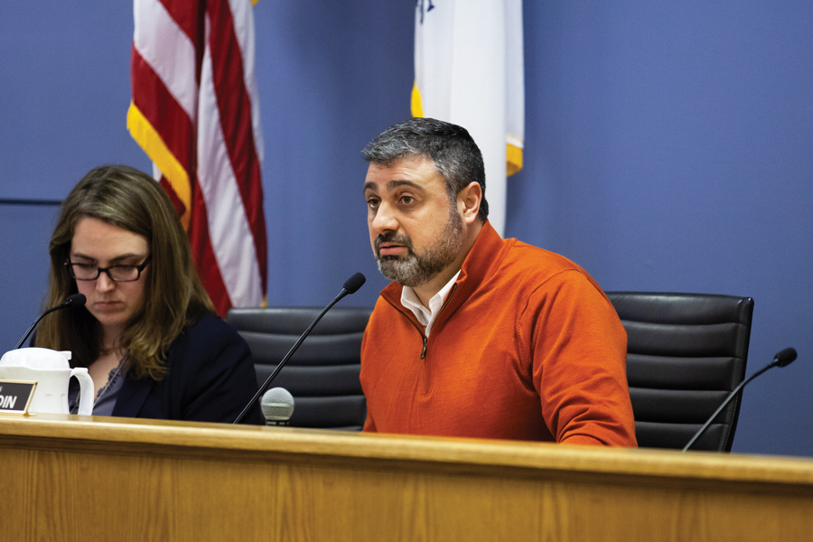 Ald. Thomas Suffredin (6th) at Monday's City Council meeting. Suffredin asked if city manager applicant names or information could be disclosed via a FOIA request.