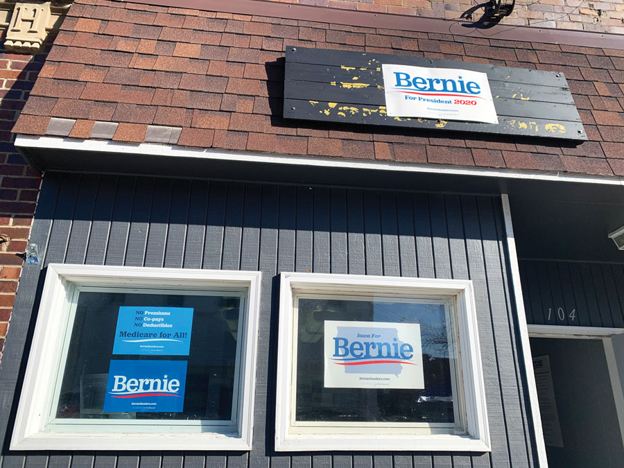 U.S. Sen. Bernie Sanders's (I-Vt.) campaign office in Indianola, Iowa. Sanders has 21 field offices scattered throughout Iowa.