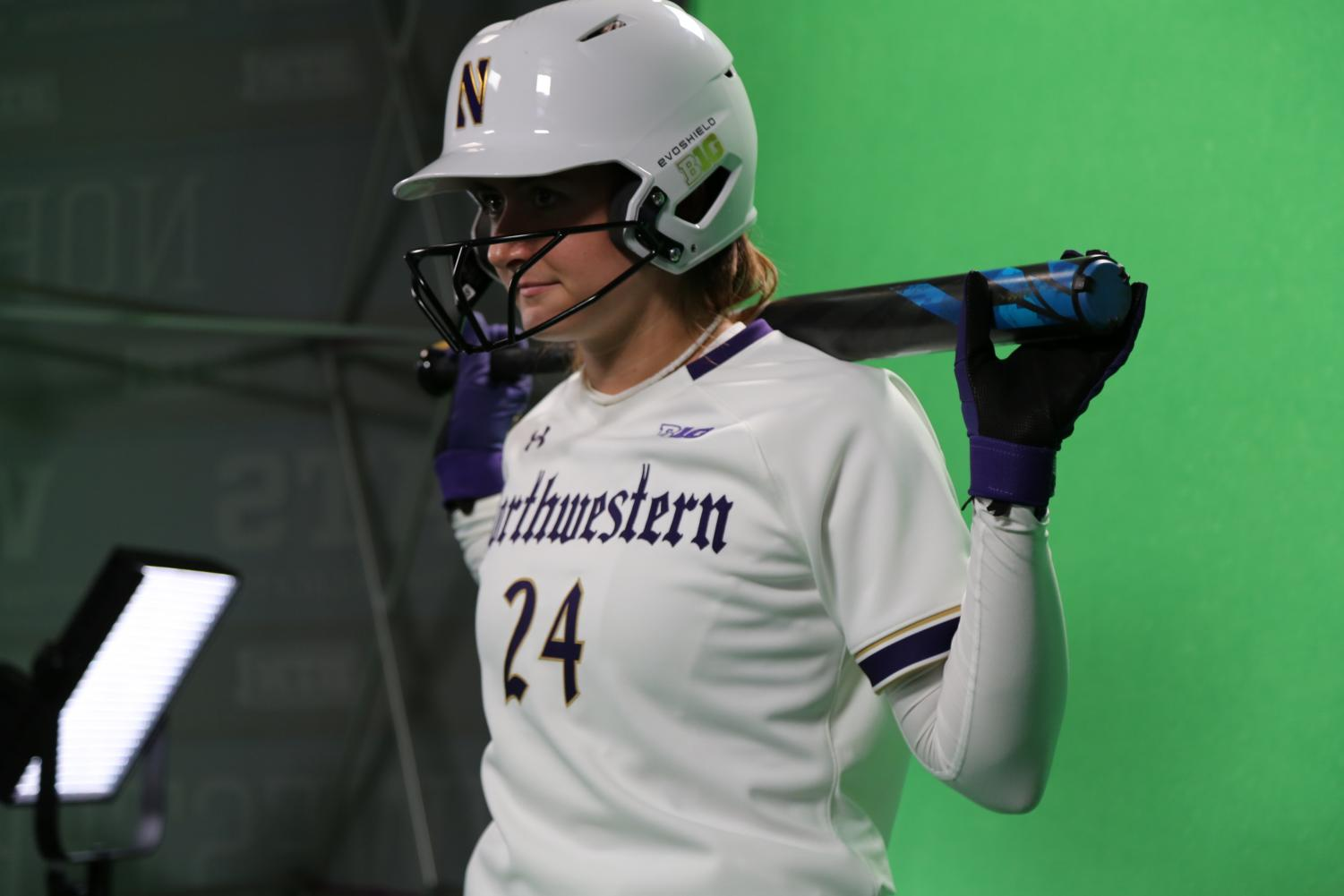 Danielle Williams debuts Northwestern's new Gothic Ice uniforms. The Wildcat softball and lacrosse teams will wear these new Under Armour uniforms in their games on Friday.