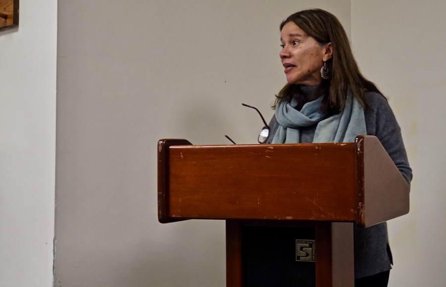 """Author Frances Aparicio reads excerpts from her book """"Negotiating Latinidad: Intralatina/o Lives in Chicago"""" at a panel and discussion hosted by Latinx Studies."""