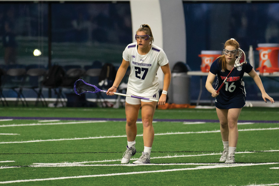 Izzy Scane stares across the field. The sophomore attacker scored 10 points in her two games this weekend.